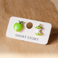 Short Story: Funky Play Earrings - Green Apple