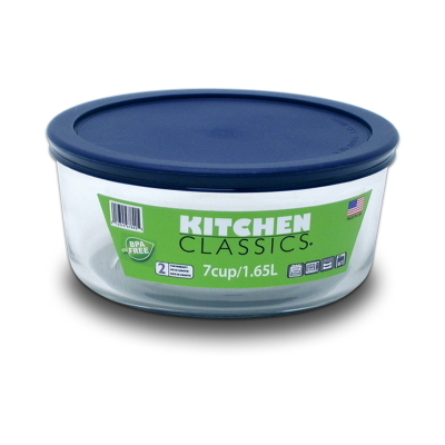 Round Glass Container With Blue Lid - 7 Cup
