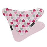 Mum 2 Mum Fashion Bandana Wonder Bib (Muted Hearts/Baby Pink)