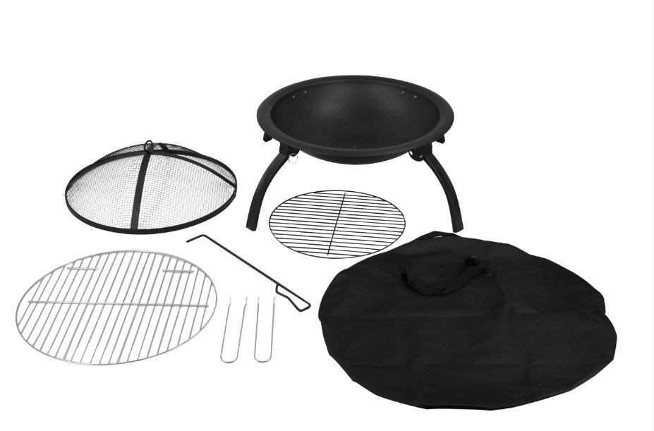 Round Foldable Fire Pit and BBQ Grill (56x42cm) image