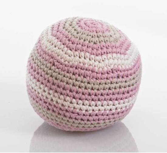 Pebble: Organic Cotton Rattle Ball - Dusky Pink