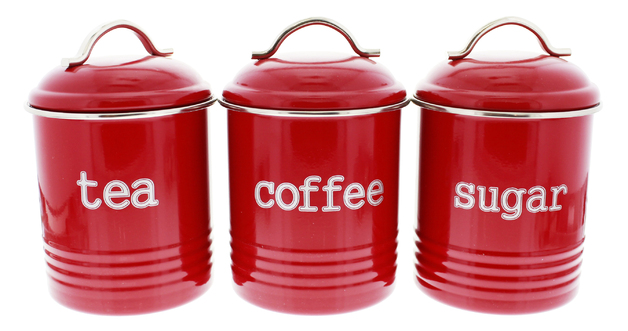 Tea/Sugar/Coffee Canisters 3 Set - Red
