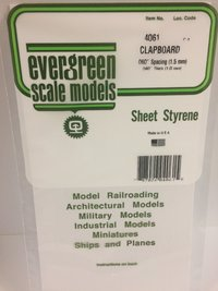 Evergreen Styrene Clapboard 15X29cm X1 mm Sp 1-5