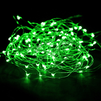 Set of Two 2.3m LED Copper Wire Seed String Lights- Green