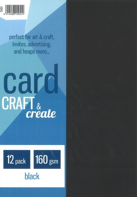 Craft & Create A4 160gsm Card - Black (12 Pack)