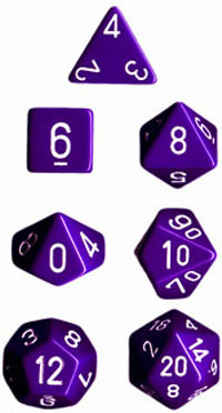 Chessex Opaque Polyhedral Dice Set - Purple/White
