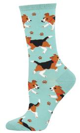 Socksmith: Women's Puppy Prints Crew Socks - Sky Blue