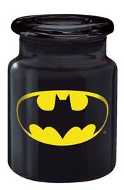 Black Glass Apothecary Jar - Batman Logo