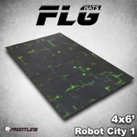 FLG Robot City 1 Green Neoprene Gaming Mat (6x4)