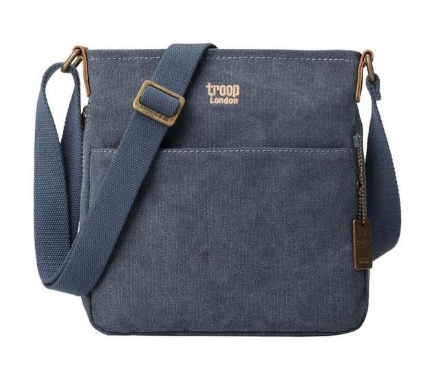 Troop London: Classic Small Zip-Top Shoulder Bag - Blue