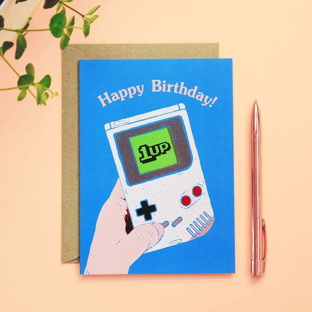 90s Kid: 1Up Gameboy Birthday Card