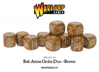 Bolt Action Orders Dice Brown (12)