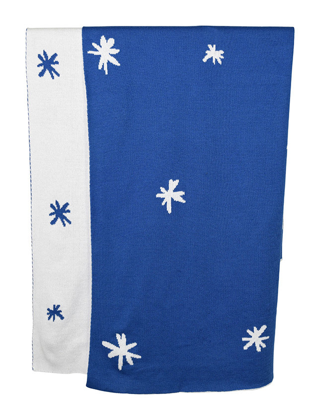 Babu: Reversible Cotton Blanket - Blue/White Stars image