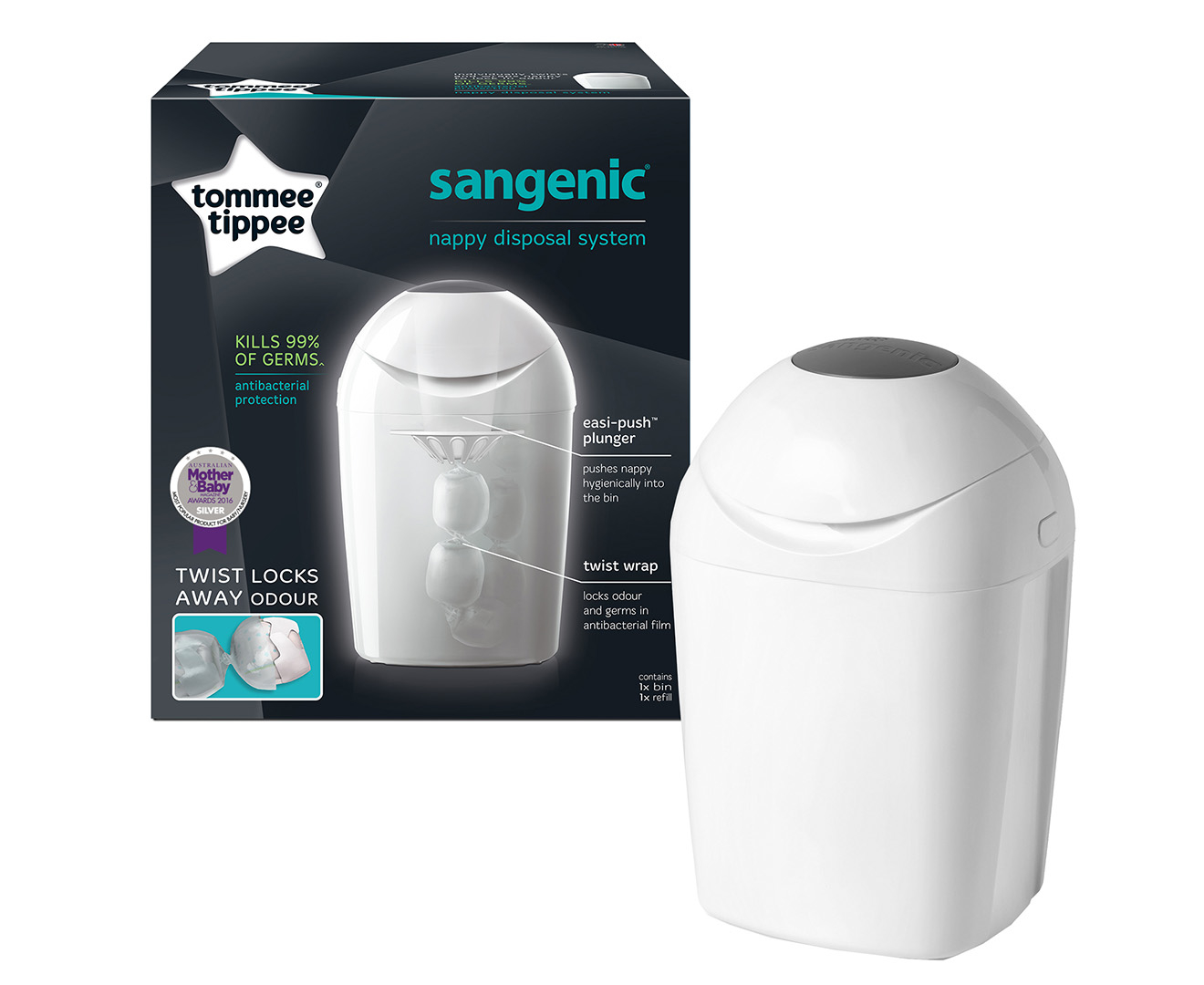 buy tommee tippee sangenic nappy disposal system at mighty ape australia. Black Bedroom Furniture Sets. Home Design Ideas
