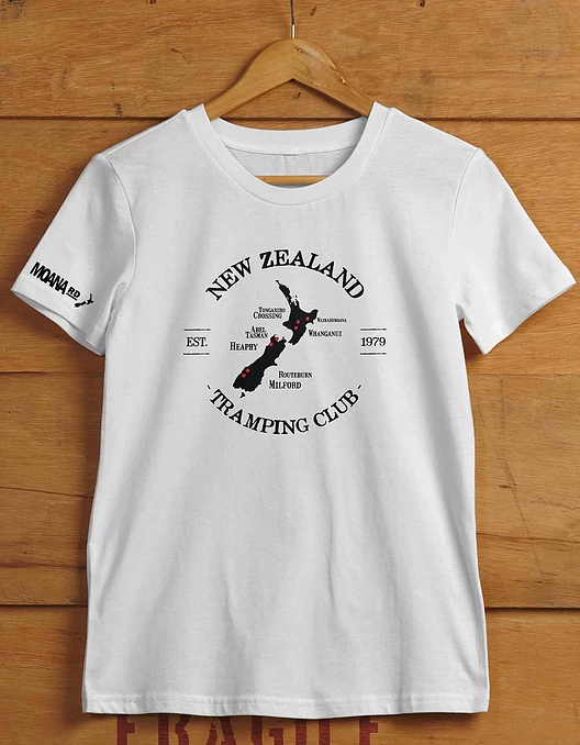 Moana Road: NZ Tramping Unisex Tee White - Large