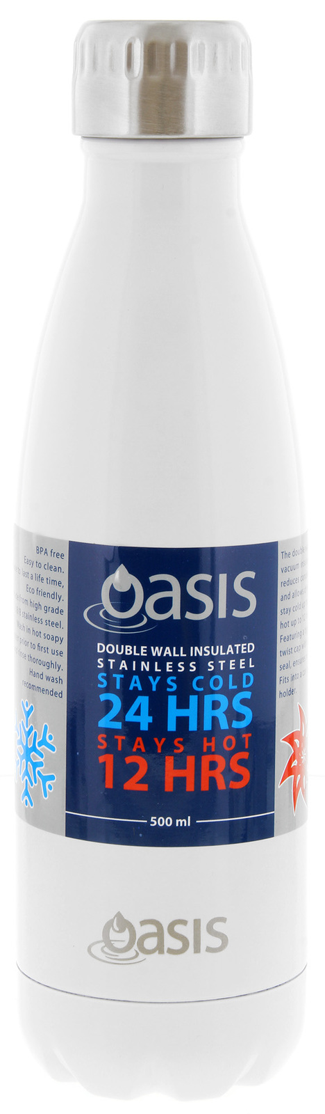 Oasis Insulated Stainless Steel Water Bottle - White (500ml) image