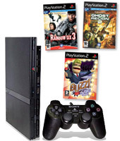 PlayStation 2 Console + Buzz!: The BIG Quiz, Ghost Recon 2 & Rainbow Six 3 for PlayStation 2