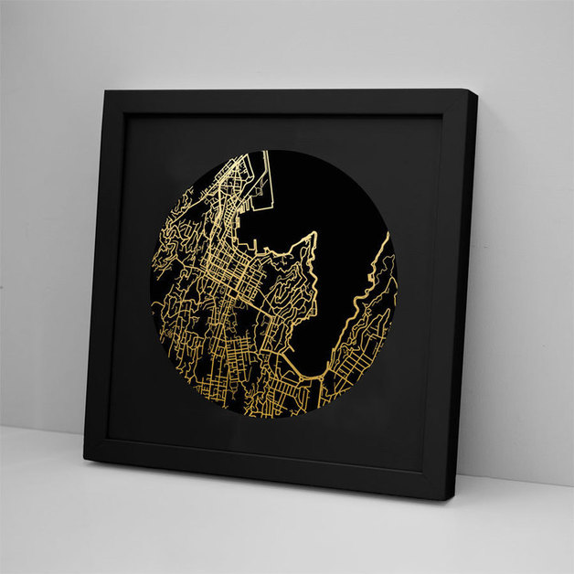 Wellington Mapscape Black on Black Foil Print - Framed
