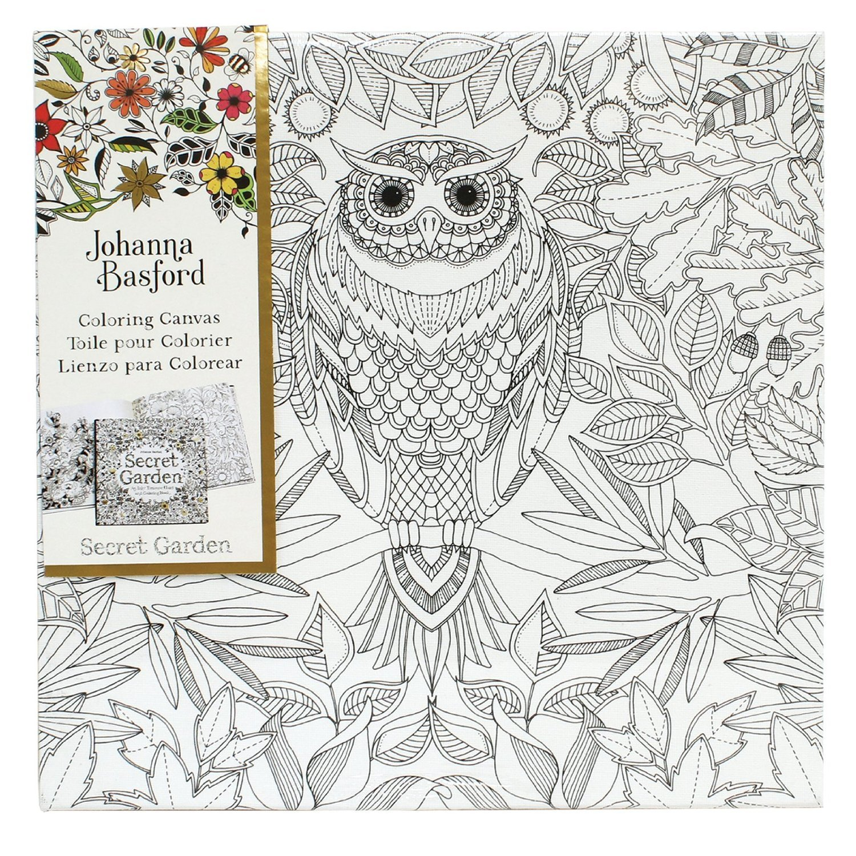 Secret garden colouring in book nz - Johanna Basford Canvas 12x12 Secret Garden Owl Image