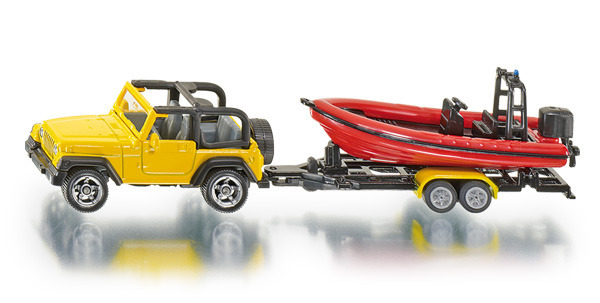 Siku: Jeep Wrangler with Motor Boat and Trailer