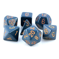 Chessex Opaque Polyhedral Dice Set - Dusty Blue/Gold