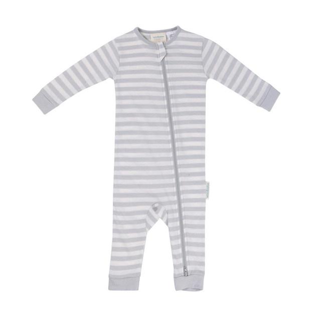 Woolbabe Merino/Organic Cotton PJ Suit - Pebble (1 Year)