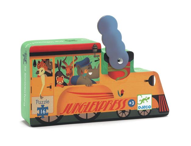 Djeco: 16-Piece Puzzle - Jungle Locomotive