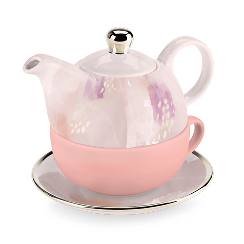 Addison Pink Abstract Tea for One Set