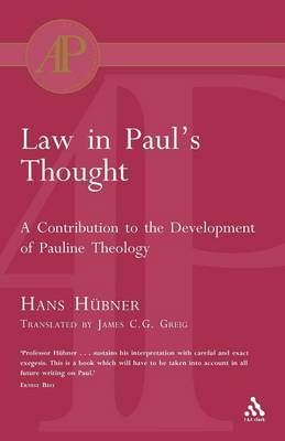 Law in Paul's Thought by Hans Hubner