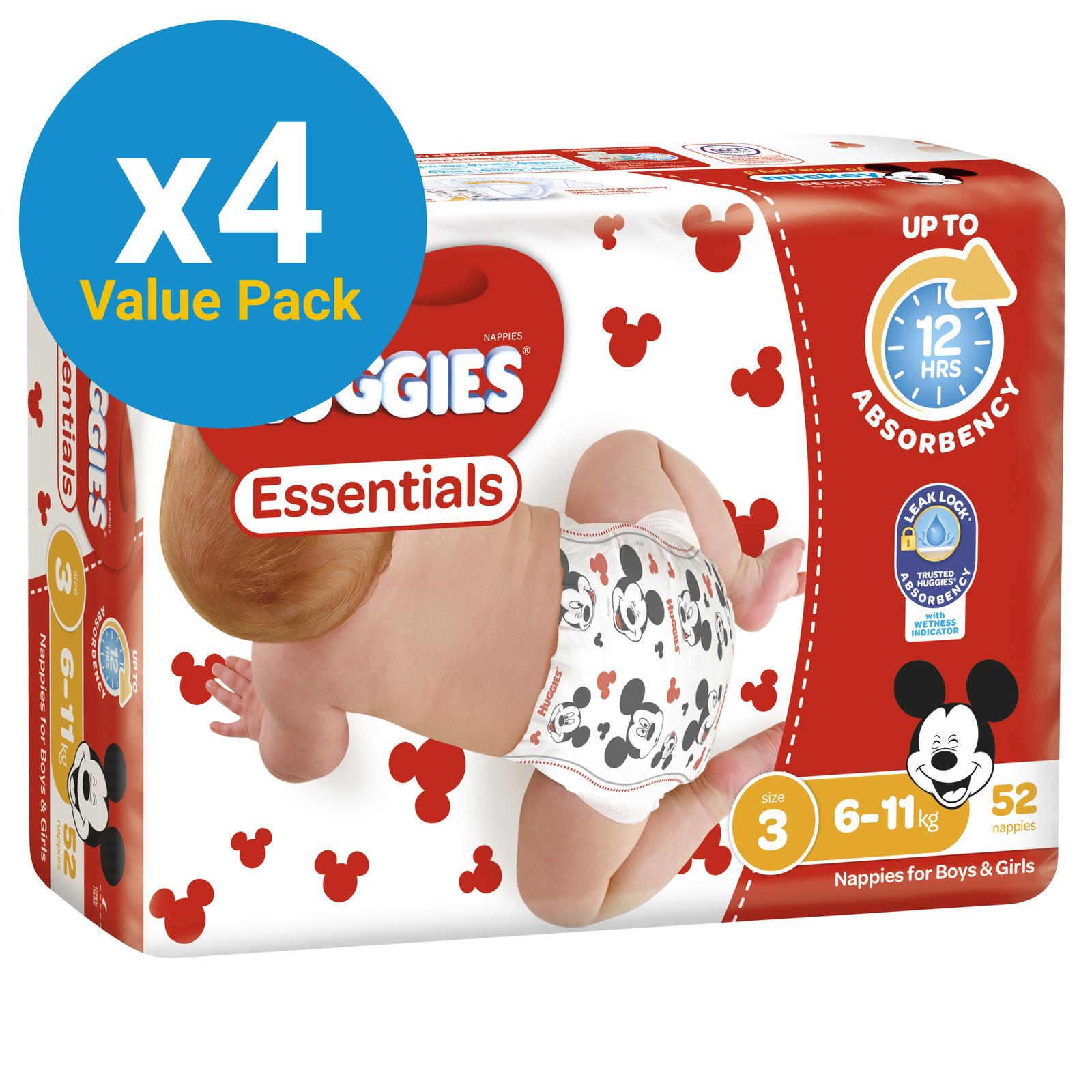 Huggies Essentials Nappies Bulk Value Box - Size 3 Crawler (208) image