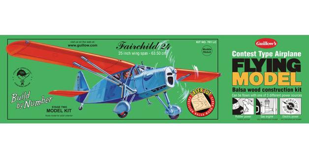 """Fairchild 24 25"""" Wingspan Balsa Model Kit"""