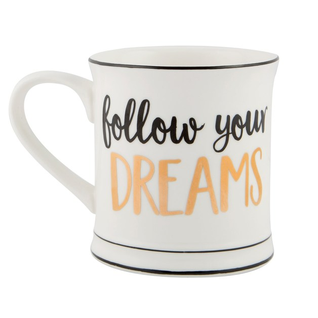 Metallic Monochrome Mug (Follow Your Dreams)