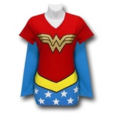Wonder Woman V-Neck Caped Costume T-Shirt (Medium)