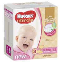 Huggies Ultimate Nappies: Jumbo Pack - Crawler Girls 6-11kg (72)