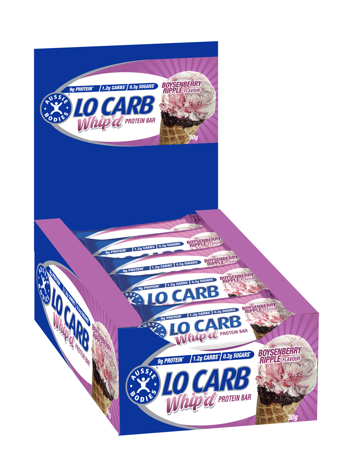 Aussie Bodies Lo Carb Whip'd Protein Bars - Boysenberry Ripple (12x30g) image