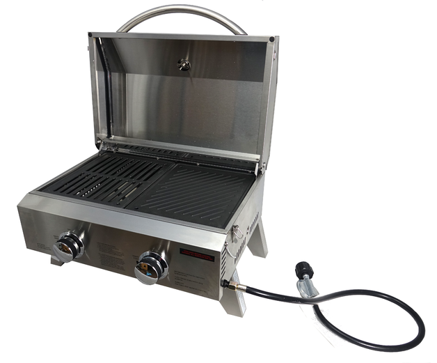 Portable BBQ Grill - Stainless Steel 2 Burner with Split Cast Iron Hotplate & Grill
