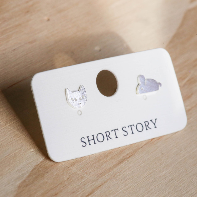 Short Story: Funky Play Earrings - Silver Cat & Mouse