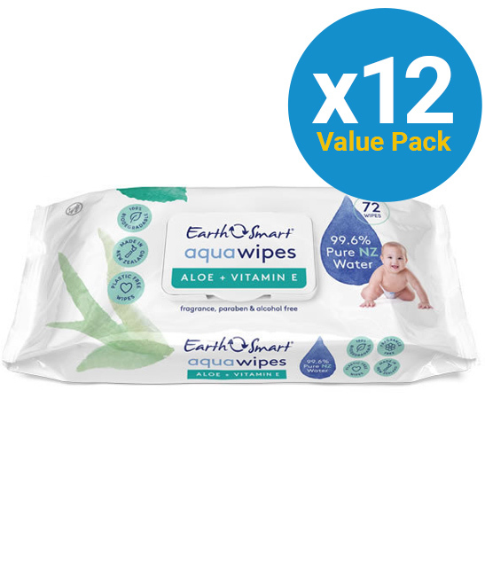 EarthSmart: Aqua Baby Wipes Aloe Vera + Vitamin E (12 packs of 72 wipes) image