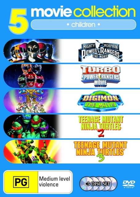 Mighty Morphin Power Rangers/Turbo Power Rangers/Digimon/TMNT 2/TMNT 3 (5 Disc Set) on DVD