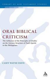 Oral Biblical Criticism by Casey Wayne Davis image