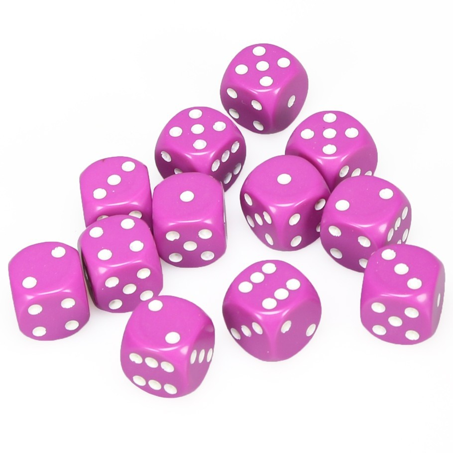 Chessex: D6 Opaque Cube Set (16mm) - Pink/White image