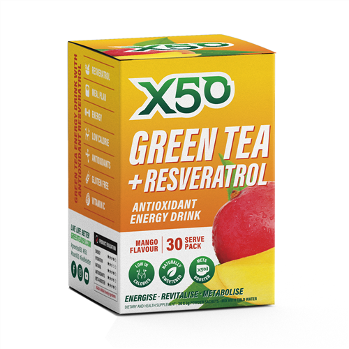 Green Tea X50 + Resveratrol - Mango (30 Sachets)