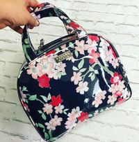 Wicked Sista Large Round Top Hold All Cosmetic Bag - Lyrical Blooms Navy