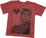 Superman Pixel Red Youth T-Shirt (Large)