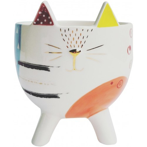 Abstract Cat Planter with Legs Multicolor 17cm