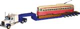 Kenworth W925 & Lowboy Trailer Hauling PCC Streetcar 1:50 Diecast Model