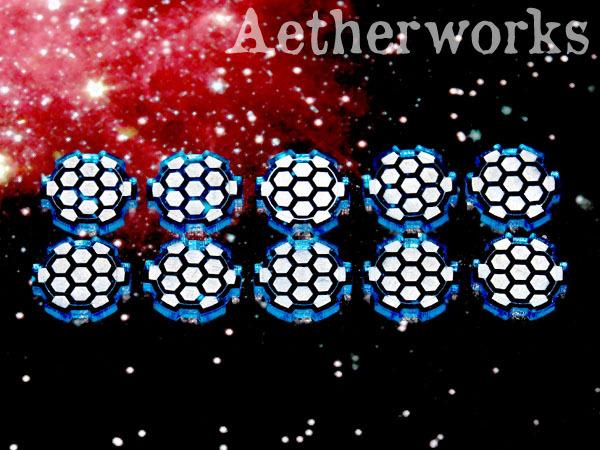 Aetherworks Shield Tokens - Translucent Blue (10 Pack)