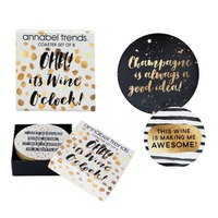 Annabel Trends Coaster Set - It's Wine O'Clock (Set of 8)