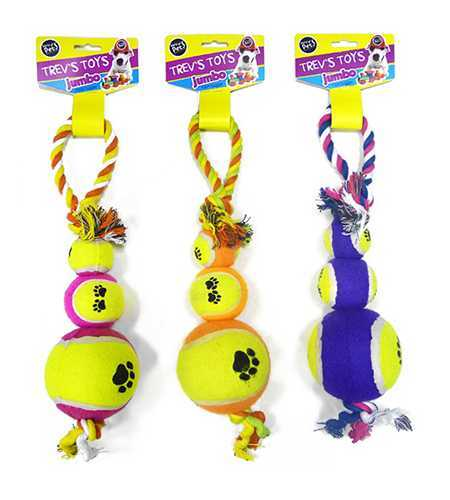 Jumbo Rope & Three Ball Dog Tug image