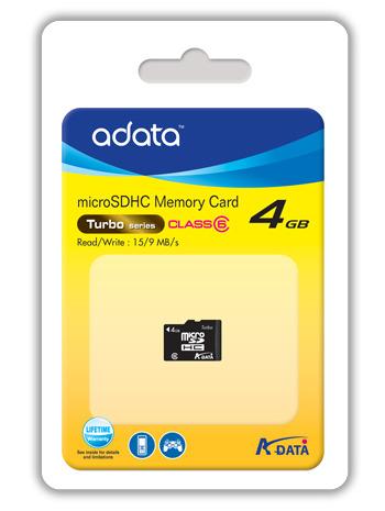 Adata Class 6 Micro SDHC card 4GB image